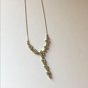 adjustable length silver green drop necklace